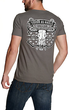 Cowboy Hardware Men's Charcoal Grey Tough as Nails Short Sleeve T-Shirt