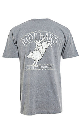 Cowboy Hardware Men's Graphite Ride Hard Short Sleeve Tee