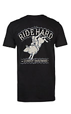 Cowboy Hardware Men's Black Ride Hard Bull Rider Short Sleeve T-Shirt