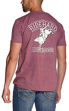 Cowboy Hardware Men's Heather Burgundy Ride Hard Short Sleeve T-Shirt