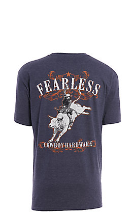Cowboy Hardware Men's Heather Navy Fearless Graphic Short Sleeve T-Shirt