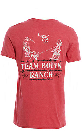 Cowboy Hardware Men's Red Team Ropin' Ranch Short Sleeve T-Shirt