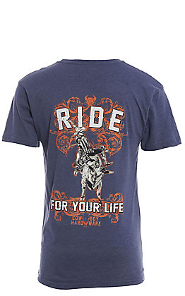 Cowboy Hardware Men's Heather Blue Ride For Your Life Graphic Short Sleeve T-Shirt