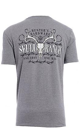 Hunter's Hardware Men's Grey Skull Ranch Short Sleeve T-Shirt