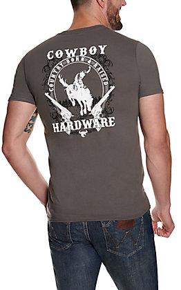 Cowboy Hardware Men's Grey Country Born & Raised Graphic Short Sleeve T-Shirt