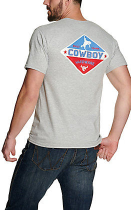 Cowboy Hardware Men's Grey Built Tough Graphic Short Sleeve T-Shirt