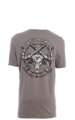Cowboy Hardware Men's Grey Country Brave Country Strong Graphic Short Sleeve T-Shirt