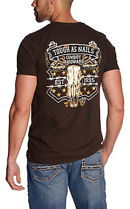Cowboy Hardware Men's Brown Tough as Nails Short Sleeve T-Shirt