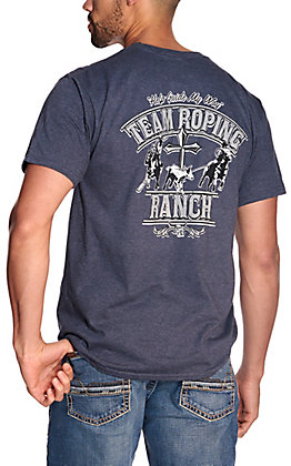 Cowboy Hardware Men's Heather Navy Team Roping Ranch Short Sleeve T-Shirt
