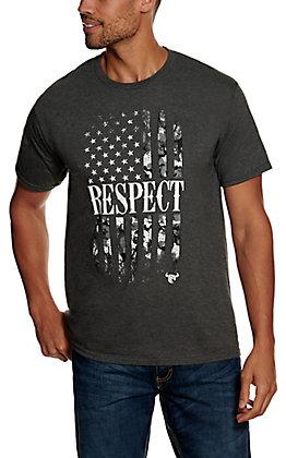 Cowboy Hardware Men's Dark Heather Grey Respect Camo Flag Short Sleeve T-Shirt