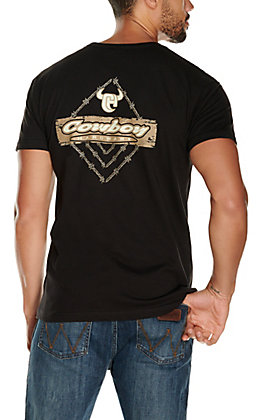 Cowboy Hardware Men's Black Barbwire Logo Short Sleeve T-Shirt