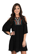 Jody Women's Black with Aztec Embroidered Neckline Cold Shoulder 3/4 Sleeve Dress
