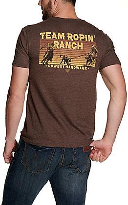Cowboy Hardware Men's Heather Brown Team Ropin' Ranch Short Sleeve T-Shirt