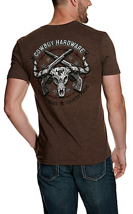 Cowboy Hardware Men's Heather Brown Country Proud Short Sleeve T-Shirt