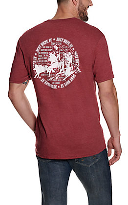 Cowboy Hardware Men's Red Just Rope It Graphic Short Sleeve T-Shirt