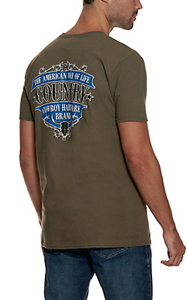 Cowboy Hardware Men's Olive with Back Graphic Short Sleeve T-Shirt