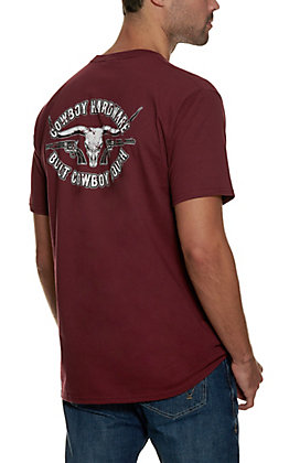 Cowboy Hardware Men's Maroon Logo Short Sleeve T-Shirt