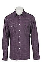 Cinch Men's Modern Fit Purple Print L/S Western Shirt 1307002