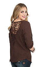 Jody Women's Solid Chocolate with Crochet Back 3/4 Sleeve Fashion Top