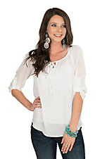 Jody Women's Off White with Crochet Back 3/4 Sleeve Fashion Top