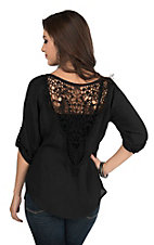 Jody Women's Solid Black with Crochet Back 3/4 Sleeve Fashion Top