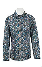 Cinch Men's White Paisley Print Modern Fit Western Shirt 1322011