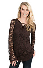 Jody Women's Brown Lace with Lace Up Front Long Sleeve Fashion Top