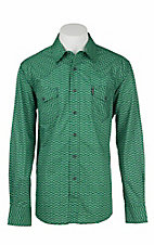 Cinch Men's Modern Fit Green and Navy Chevron Print L/S Western Snap Shirt