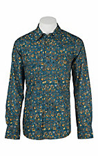 Cinch Men's Modern Fit Blue and Gold Floral L/S Western Snap Shirt