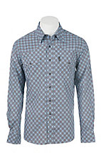 Cinch Men's Navy and Brown Print Modern Fit Long Sleeve Western Shirt