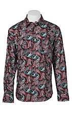 Cinch Men's Red, Black & Light Blue Modern Fit Paisley Long Sleeve Western Snap Shirt