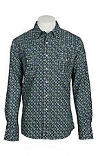 Cinch Men's Grey & Lime Green Multi Print Modern Fit L/S Western Snap Shirt