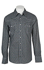 Cinch Men's Black and Khaki Modern Fit Geo Print Long Sleeve Western Snap Shirt