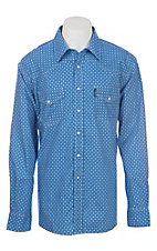 Cinch Men's Modern Fit Blue Geo Print Long Sleeve Western Snap Shirt
