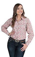 Wired Heart Women's Red Floral Print Long Sleeve Western Snap Shirt