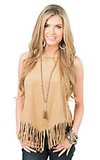 Jody Women's Buckskin Camel with Fringe Sleeveless Fashion Top
