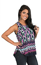 Renee C. Women's Navy and Fucshia Print Sleeveless Fashion Tank