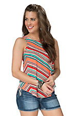 Renee C. Women's Orange with Multicolor Stripe Sleeveless Chiffon Tank