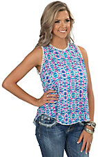 Renee C. Women's Blue & Pink Print with Crochet Trim Tank