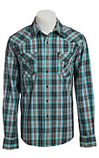 Cinch Men's Turquoise and Grey Modern Fit Plaid Western Shirt