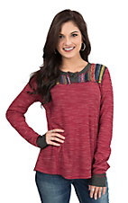 Jody Women's Burgundy with Serape Yoke Long Sleeve Casual Knit Top