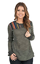 Jody Women's Olive with Serape Yoke Long Sleeve Casual Knit Top