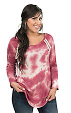 Jody Women's Burgundy Tie Dye with Multi Print Back Long Sleeve Fashion Top