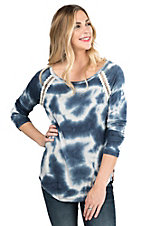 Jody Women's Blue Tie Dye with Multi Print Back Long Sleeve Fashion Top