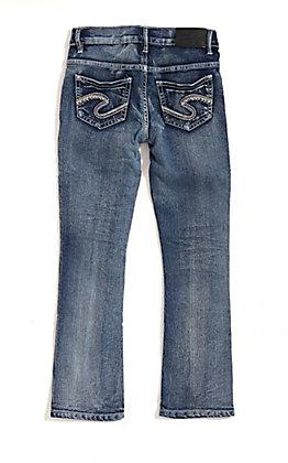 Silver Jeans Girls' Tammy Medium Wash Slim Boot Cut Jeans (4-6X)