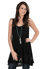 Jody Women's Black with Lace Trim Sleeveless Fashion Tunic Top