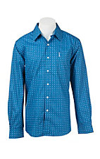 Cinch Men's Blue and White Mini Print Modern Fit Western Shirt 1322028