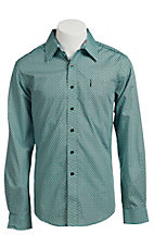 Cinch Men's Turquoise and Grey Modern Print Western Shirt