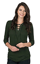 Jody Women's Green Lace Up Front 3/4 Sleeve Ribbed Fashion Top