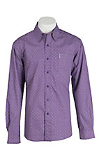 Cinch Men's Modern Fit Purple and White Print L/S Shirt